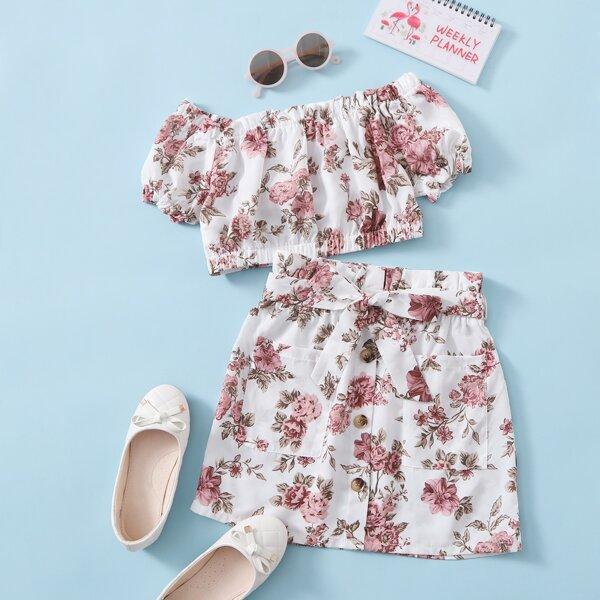 Girls Frilled Floral Bardot Top & Paperbag Waist Skirt Set, Multicolor