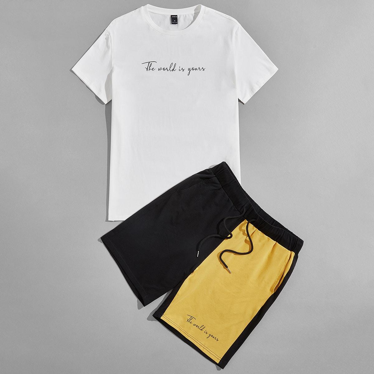Мужская футболка с текстовым рисунком и контрастные спортивные шорты