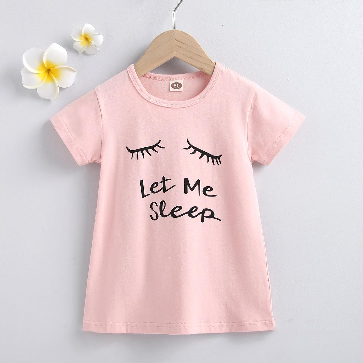 для девочек Ресницы и с текстовым принтом Платье-футболка от SHEIN