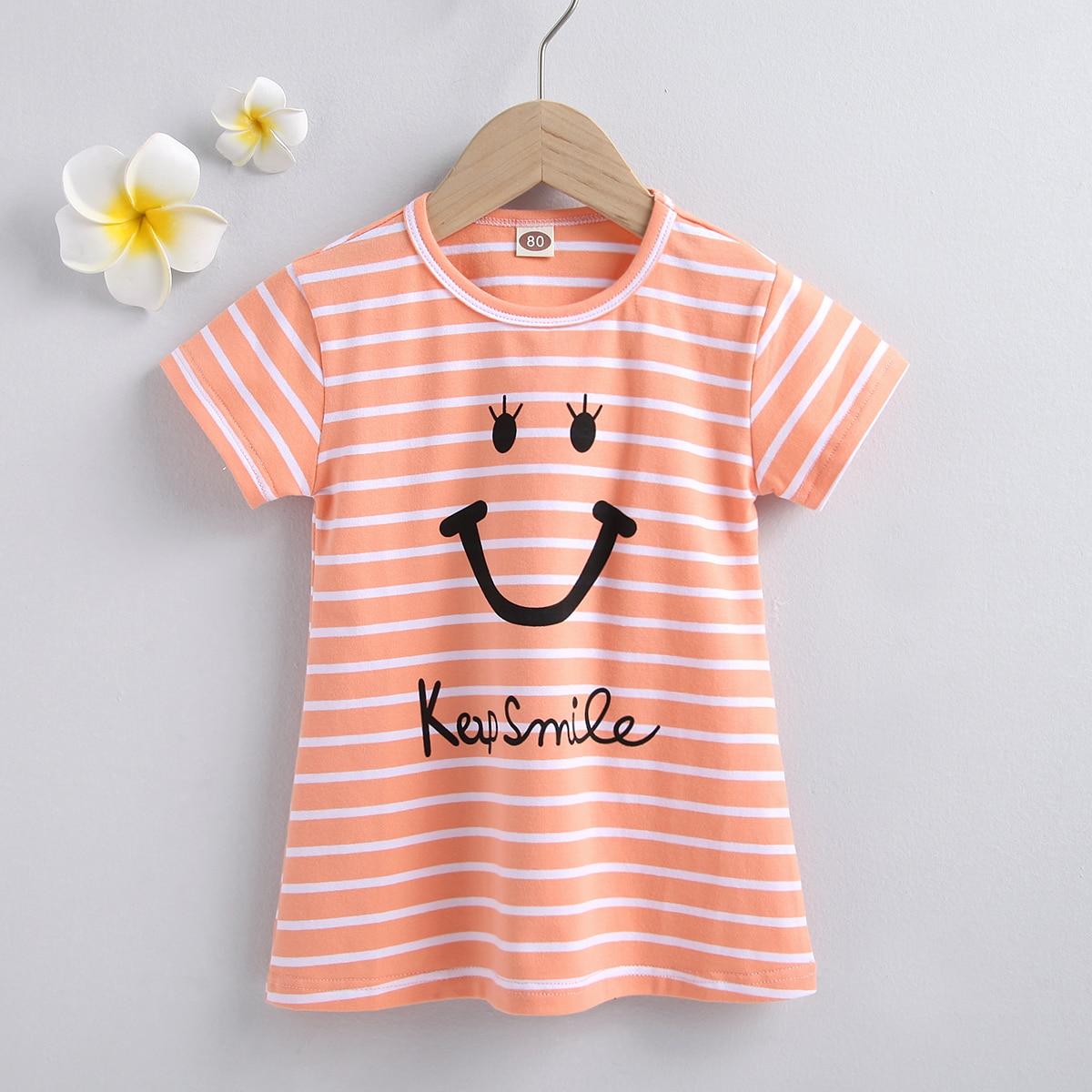для девочек Платье-футболка в полоску и с мультипликационным узором от SHEIN