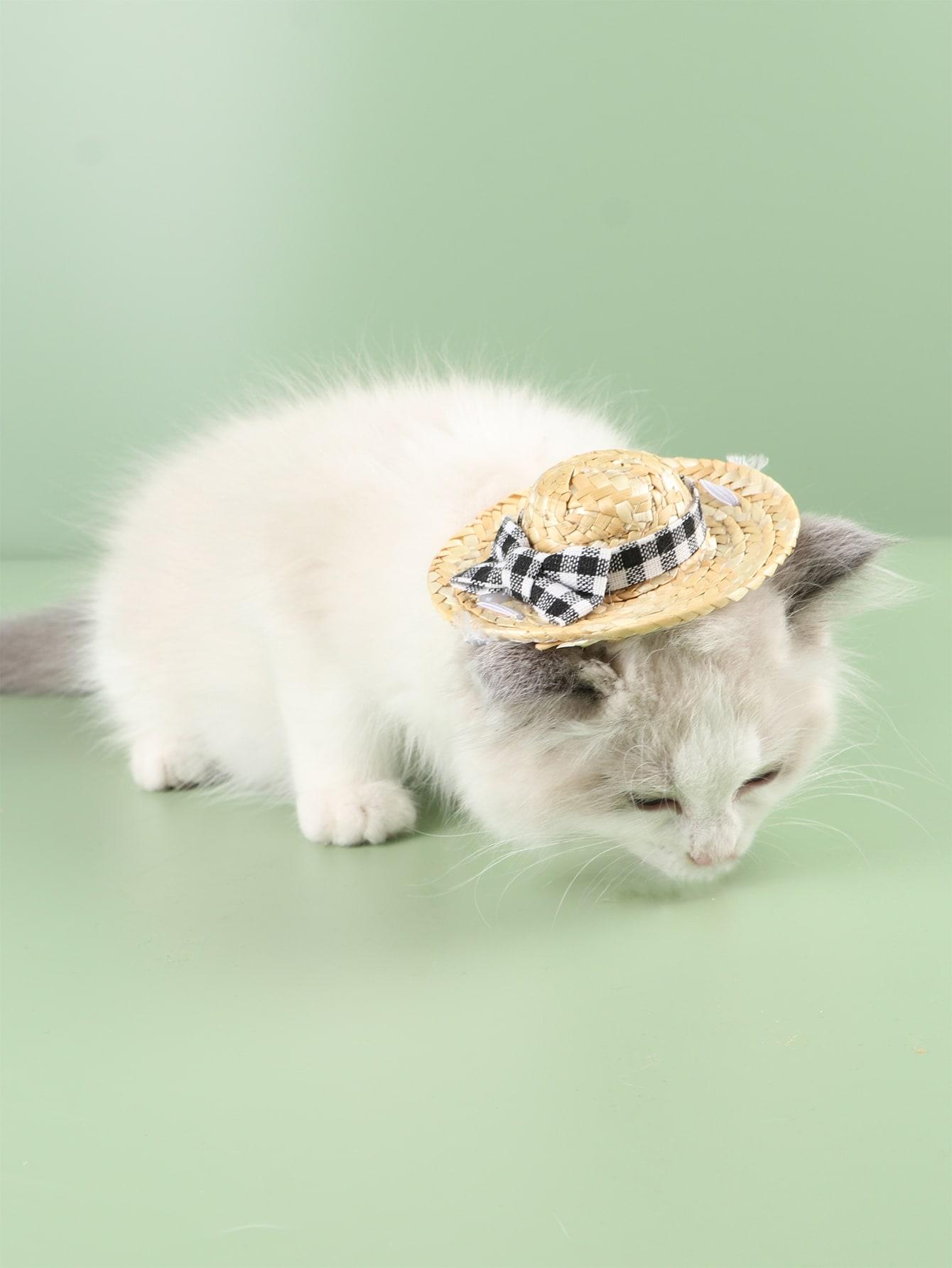 bow decor pet straw hat