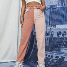 High Waist Two Tone Jeans