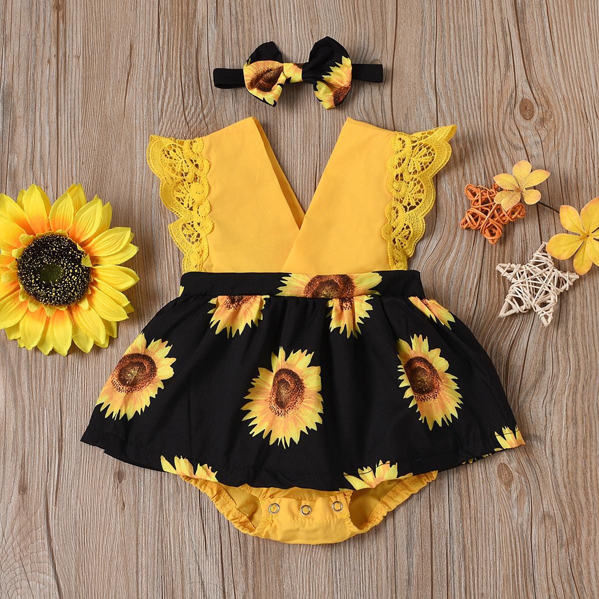 для девочек с кружевной отделкой Составной комплект Боди Платье с Ободок для волос от SHEIN
