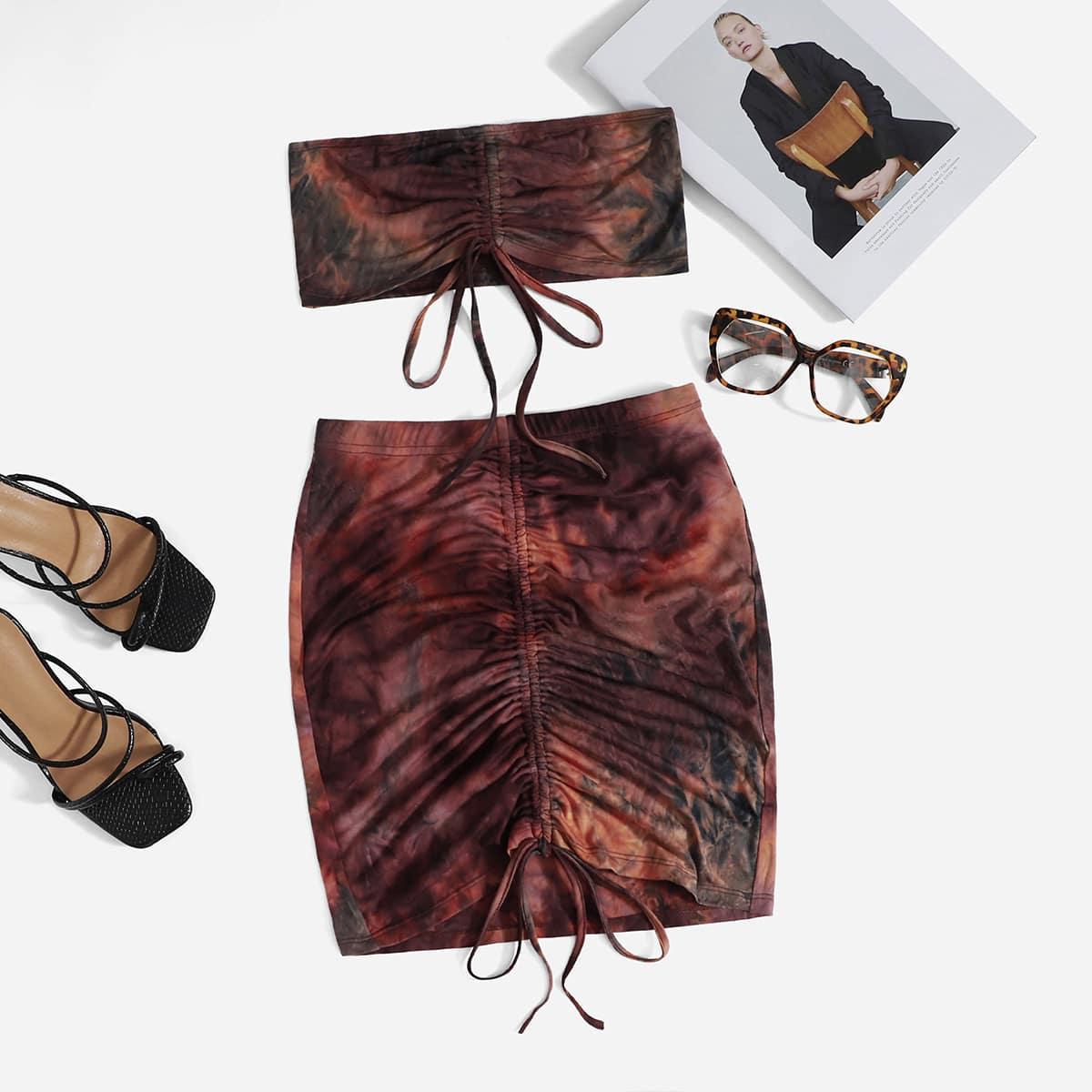 Drawstring Ruched Tube Top & Tie Dye Skirt Set