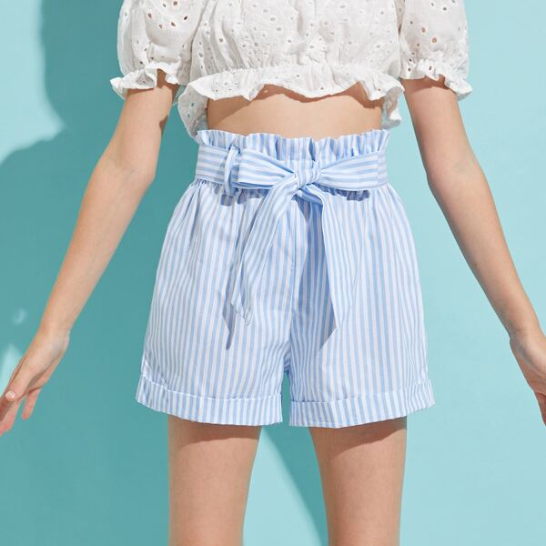 Girls Paperbag Waist Belted Rolled Hem Striped Shorts, Blue and white