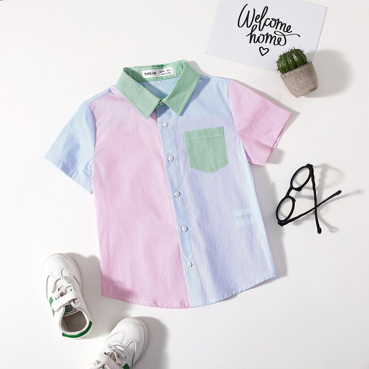 Контрастная рубашка в полоску для мальчиков