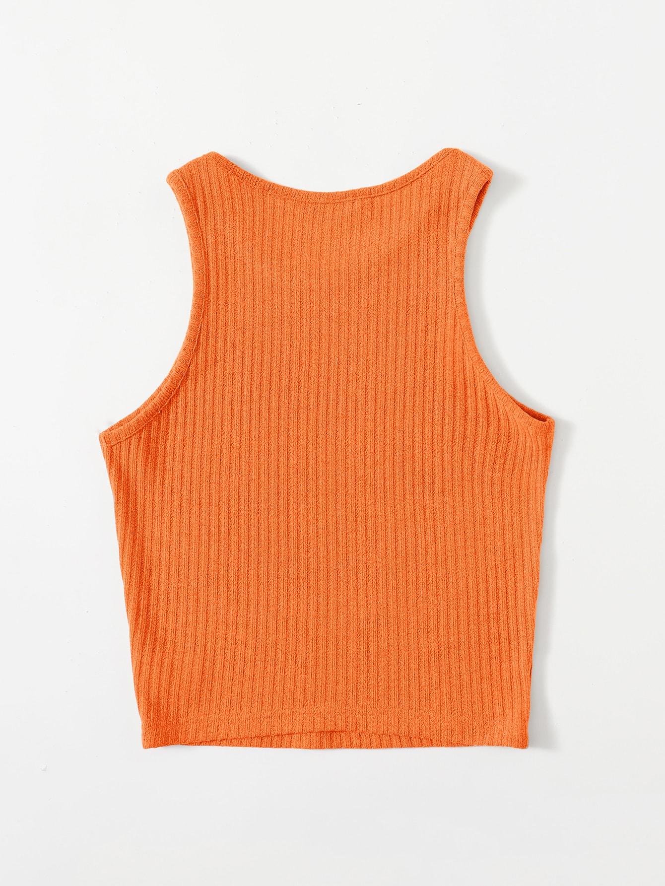 Neon Orange Solid Rib-knit Tank Top