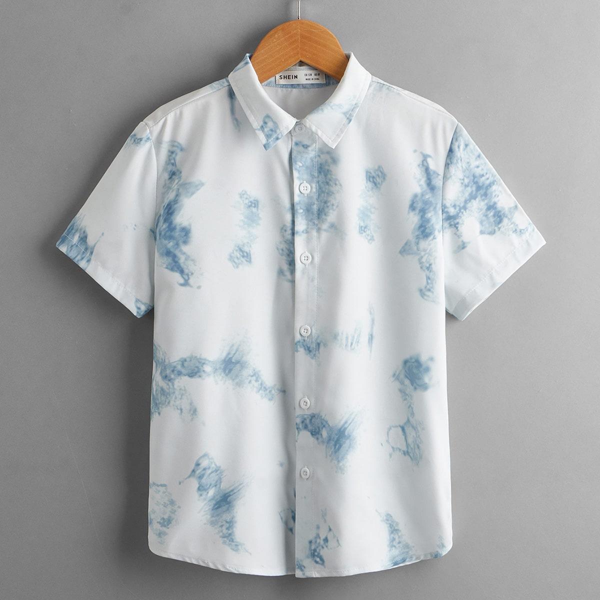 Рубашка с принтом тай-дай для мальчиков