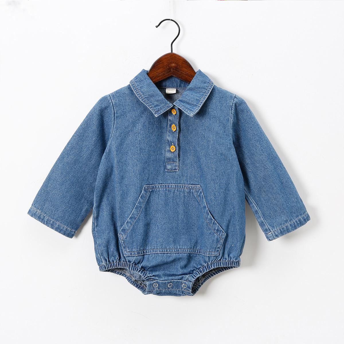для девочек Боди на пуговицах с карманом джинсовый от SHEIN