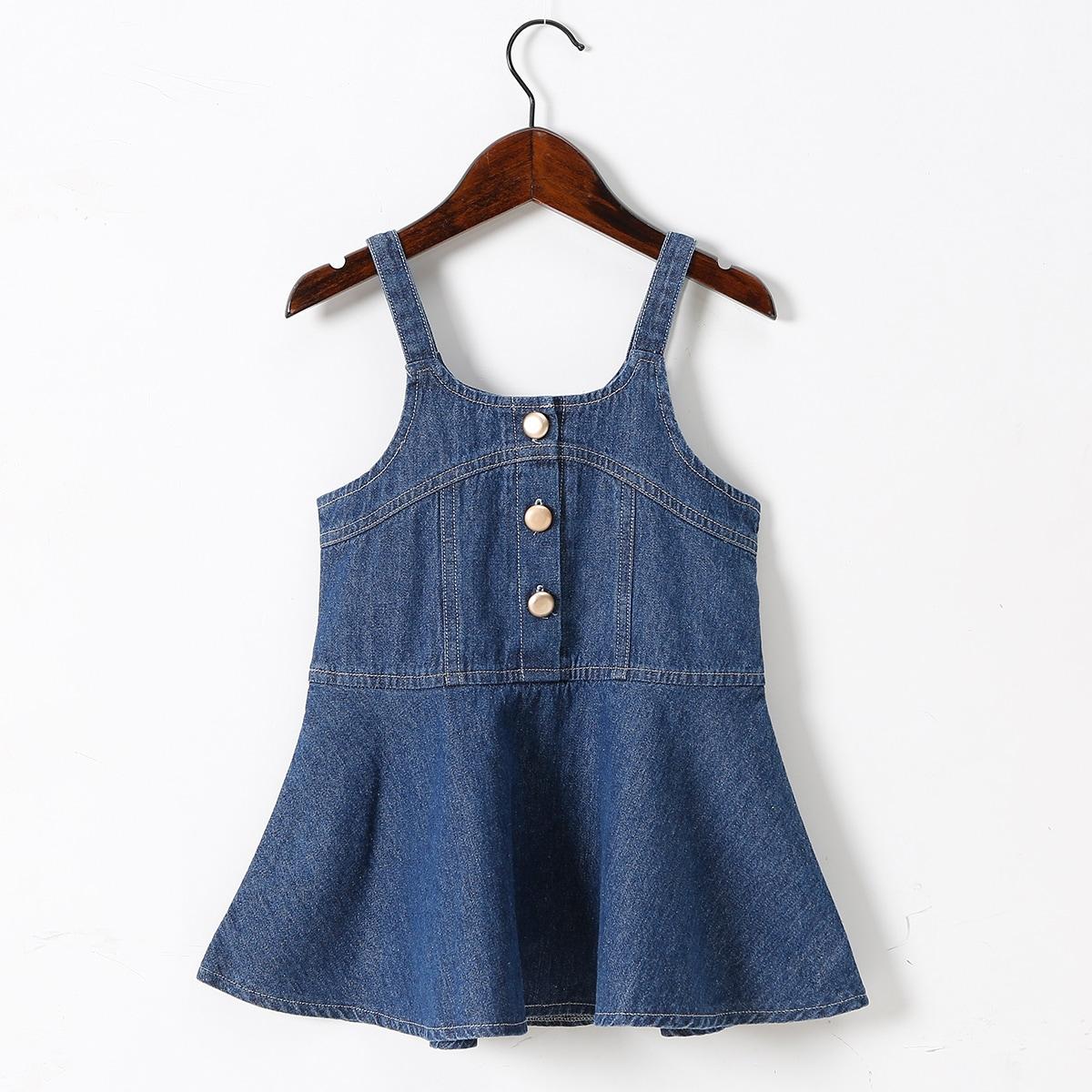 для девочек Джинсовое платье на бретельках на пуговицах SheIn skdress25210420765