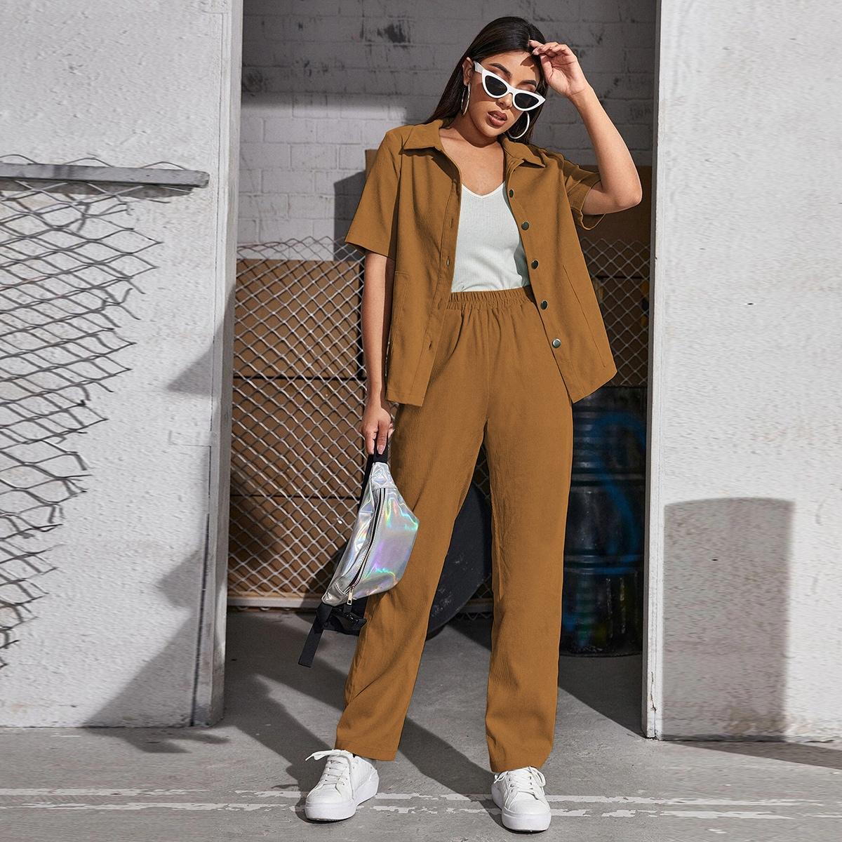 Вельветовая блузка на пуговицах и брюки SheIn swtwop25210423335