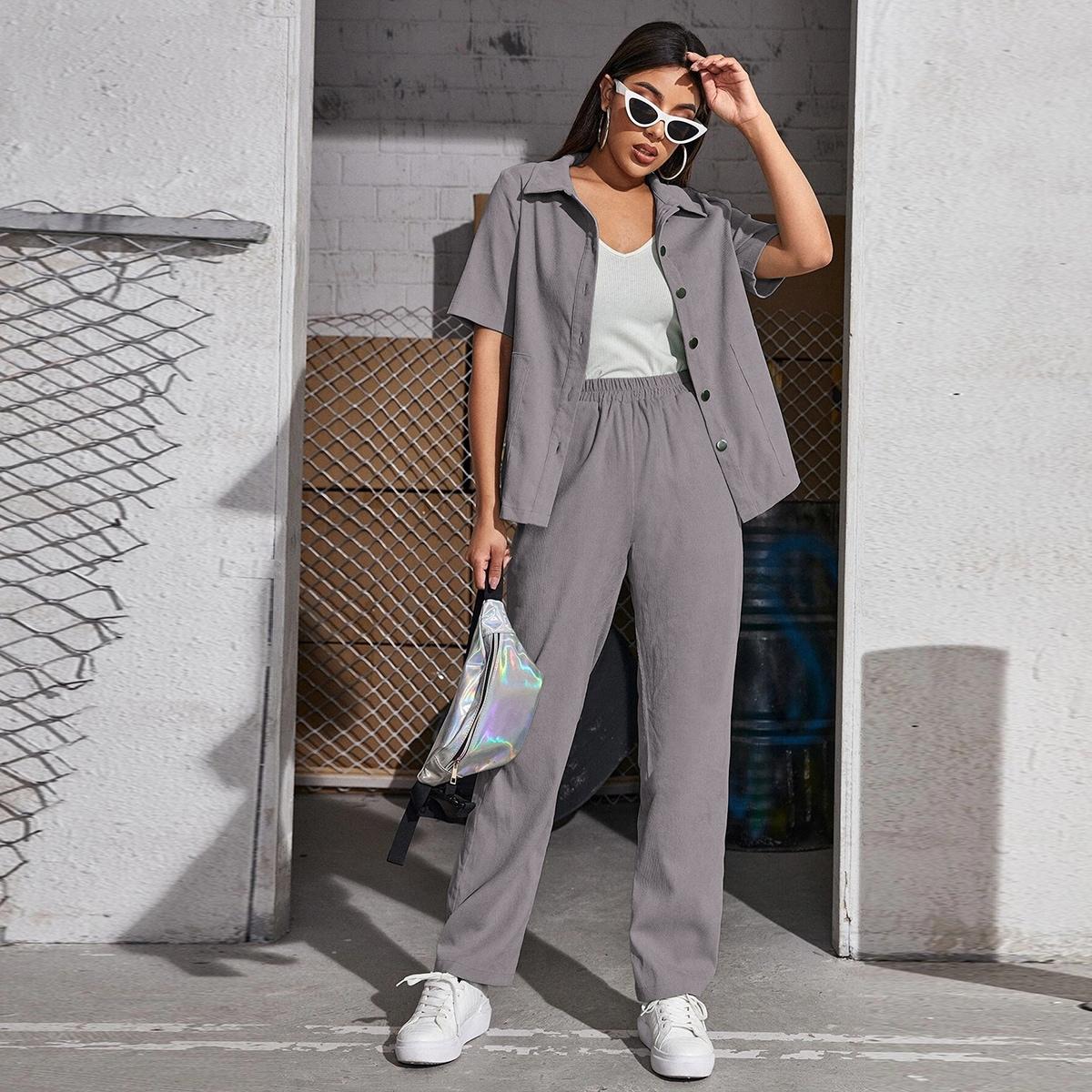 Вельветовая блузка на пуговицах и брюки SheIn swtwop25210423178