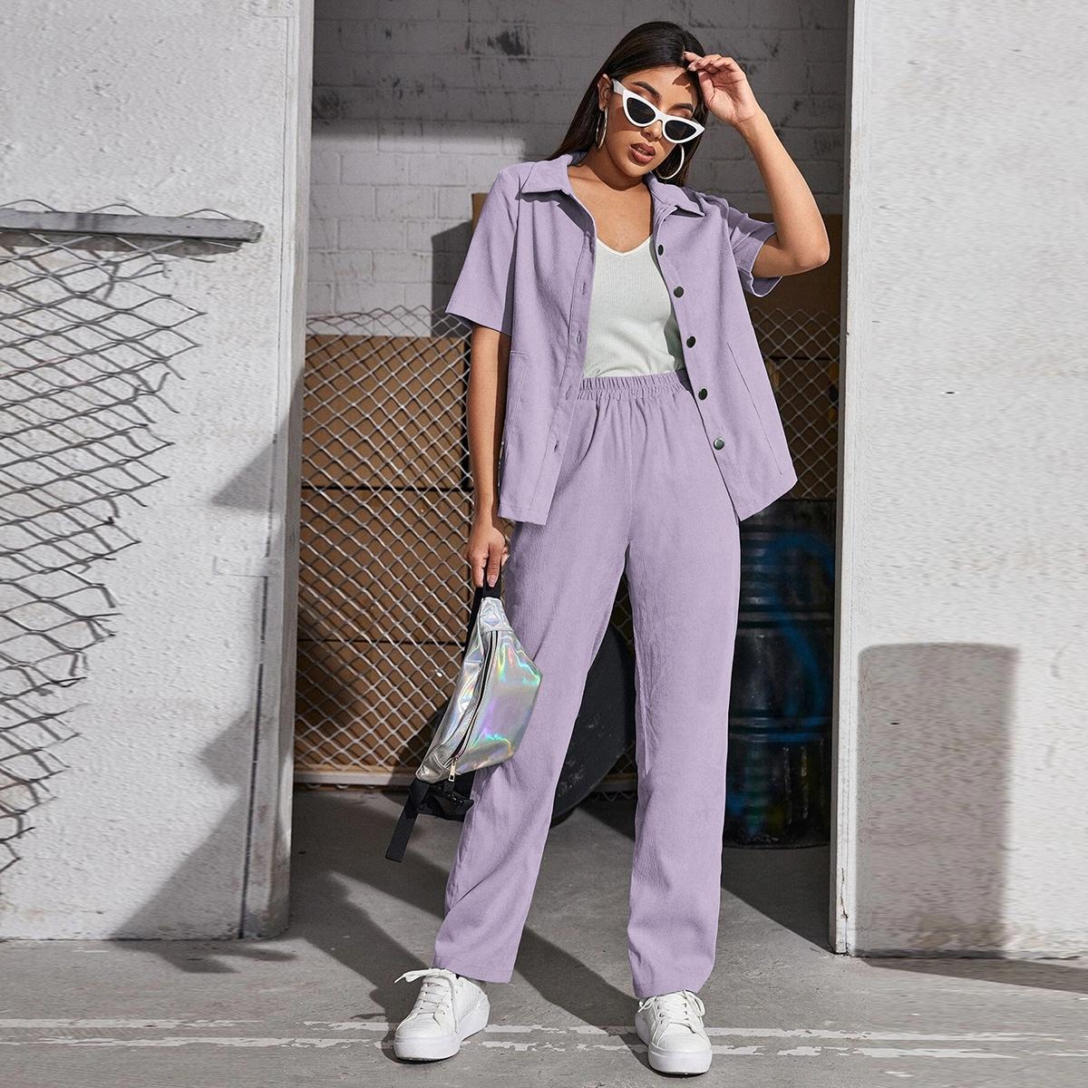 Вельветовая блузка на пуговицах и брюки SheIn swtwop25210423035