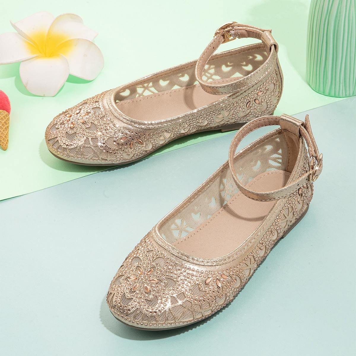 Сетчатые балетки со стразами для девочек SheIn skshoes25210524648
