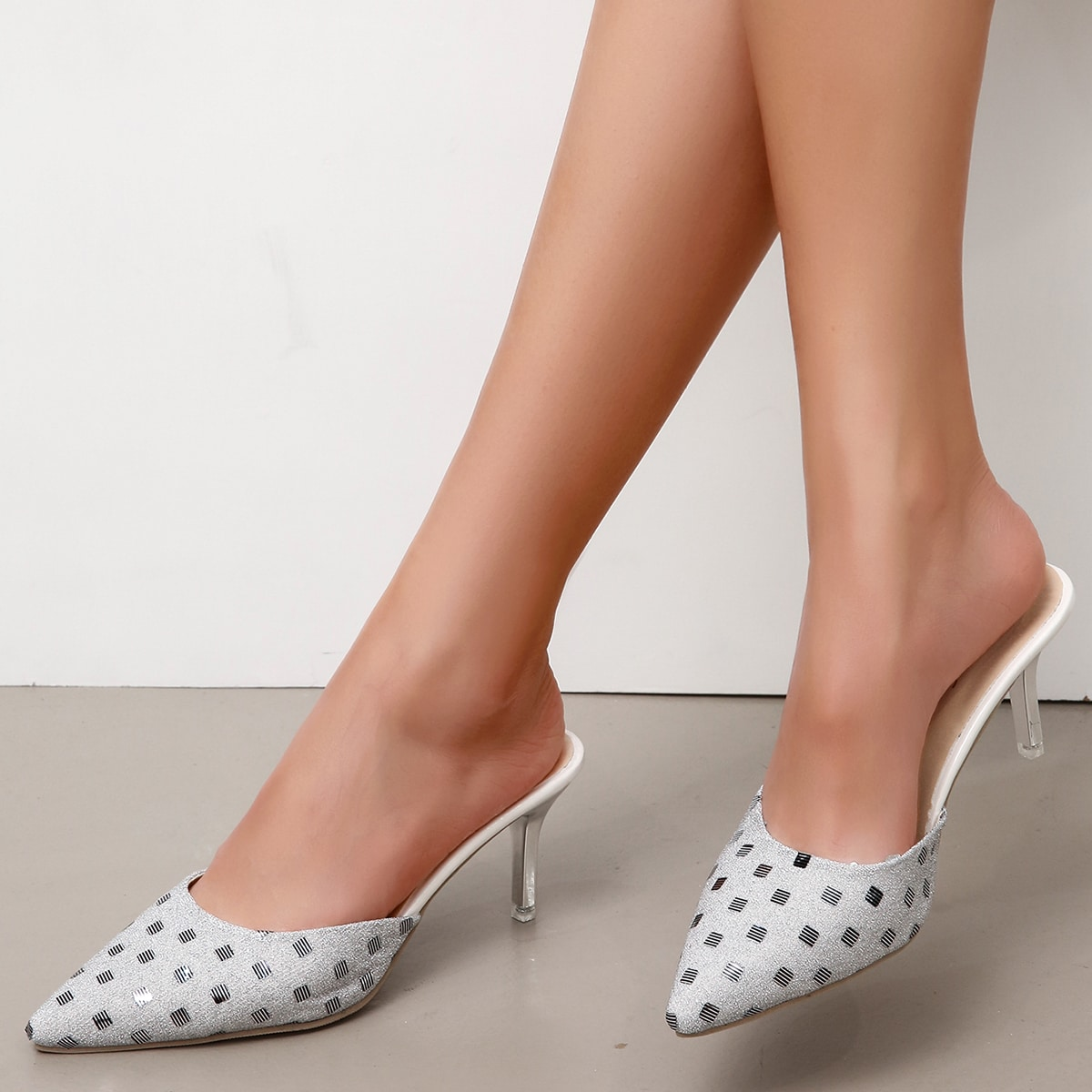 Metallic Glitter Stiletto Heeled Mule Heels