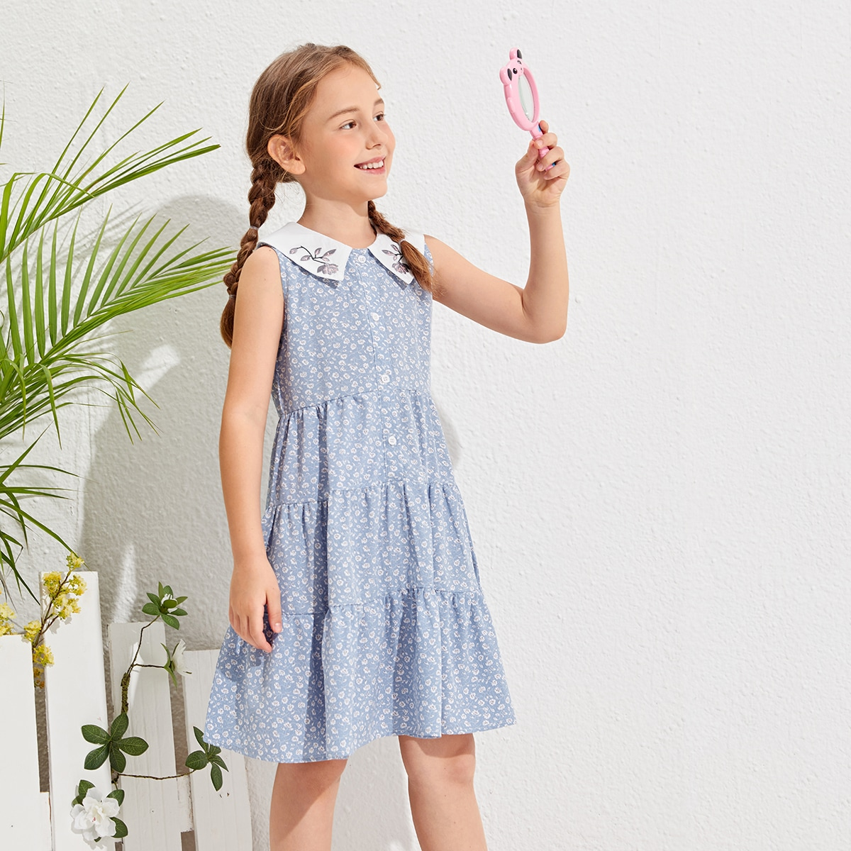 Girls Embroidered Collar Ditsy Floral Dress, SHEIN  - buy with discount