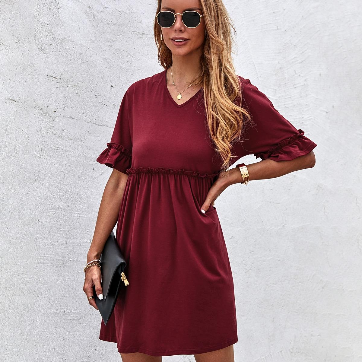 Платье с рукавами-воланами SheIn swdress23210426234