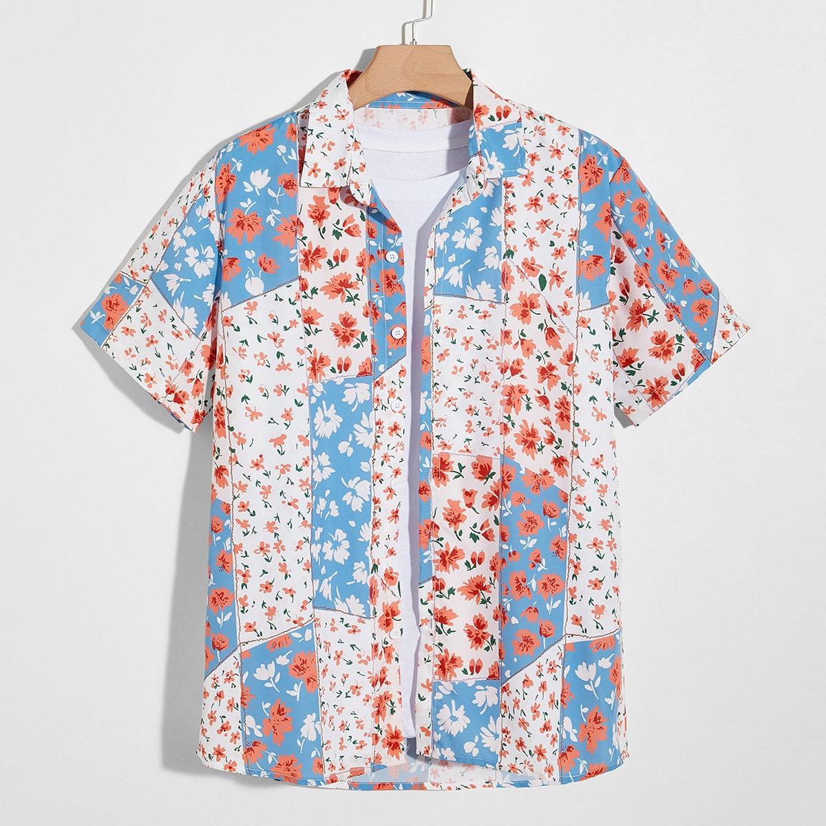 Мужской Рубашка с цветочным рисунком & с принтом пэчворк