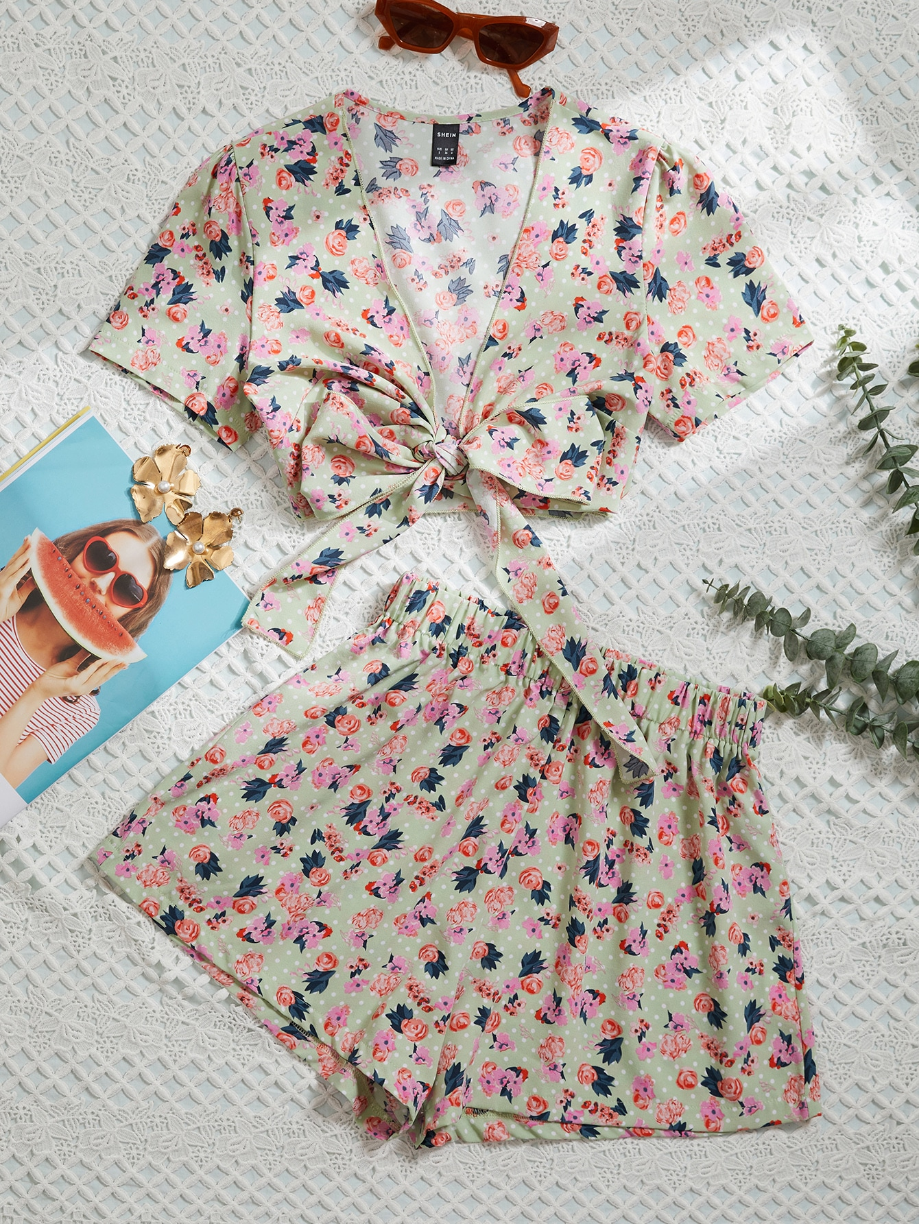 Tie Front Allover Floral Top And Shorts Set