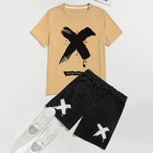 Guys Slogan Graphic Colorblock Tee & Shorts
