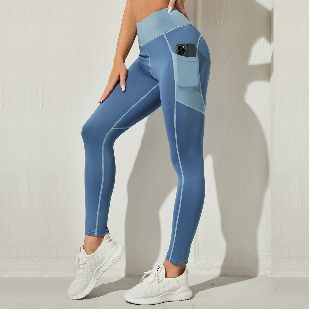 High Stretch Breathable Color Block Sports Leggings, SHEIN  - buy with discount