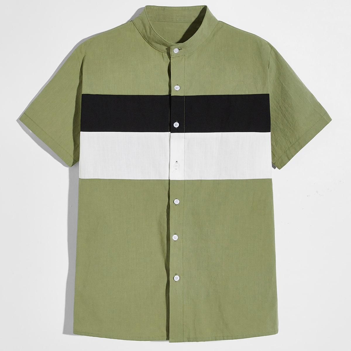 Мужской Рубашка комбинированным принтом