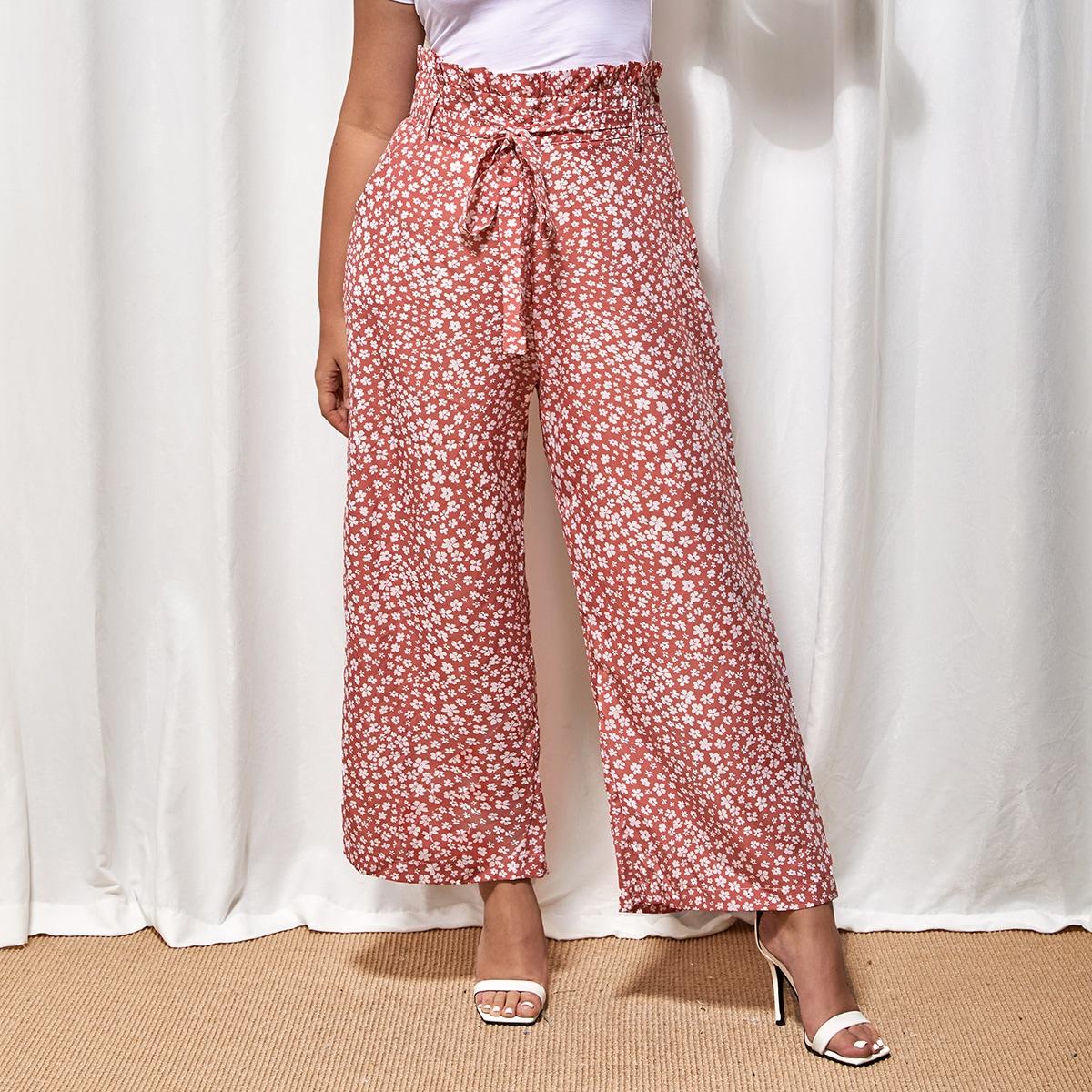 Plus Ditsy Floral Print Paper Bag Waist Wide Leg Pants With Belt