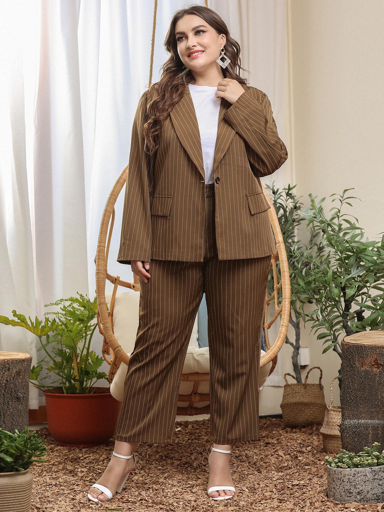 plus striped single button blazer & pants