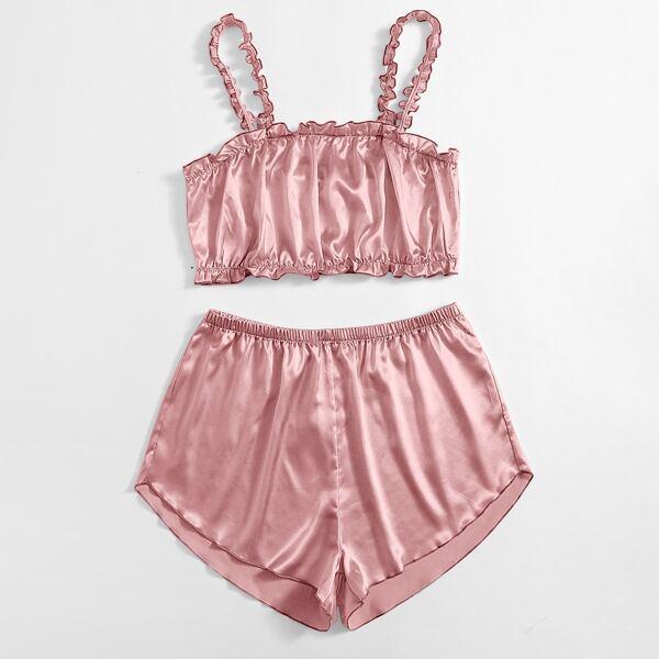 Plus Satin Frill Trim Cami PJ Set, Dusty pink