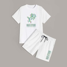 Guys Rose And Slogan Graphic Tee With Track Shorts