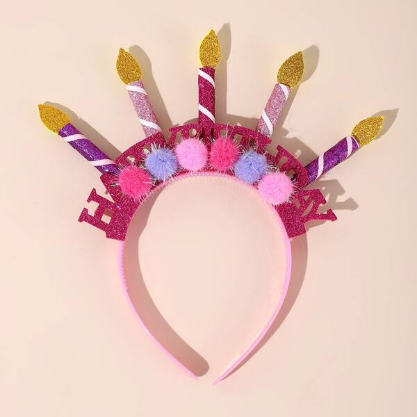 1pc Birthday Party Candle Hair Hoop, Pink