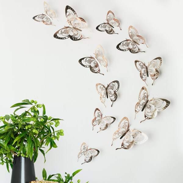 12pcs 3D Butterfly Sticker, Gold