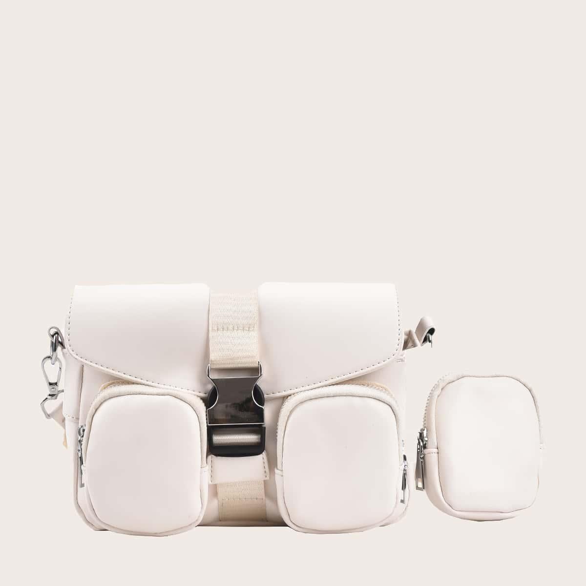 Buckle Decor Crossbody Bag With Purse