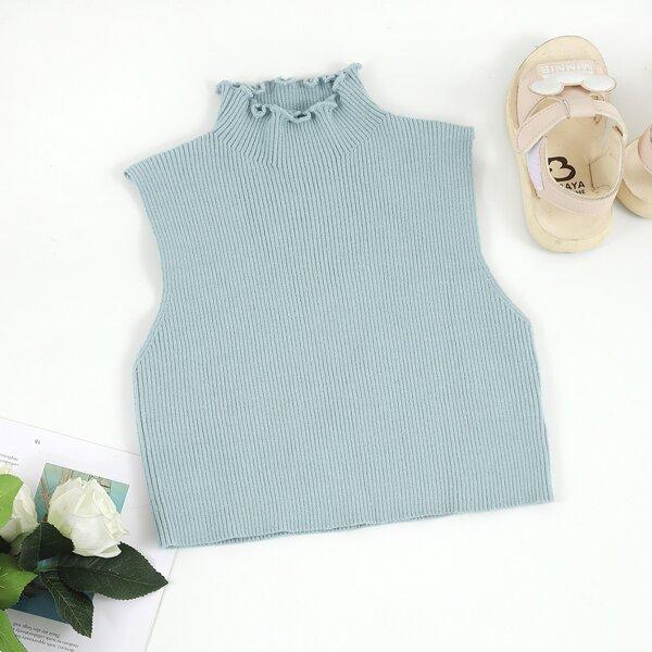 Girls Lettuce Trim Stand Collar Sleeveless Knit Top, Dusty blue