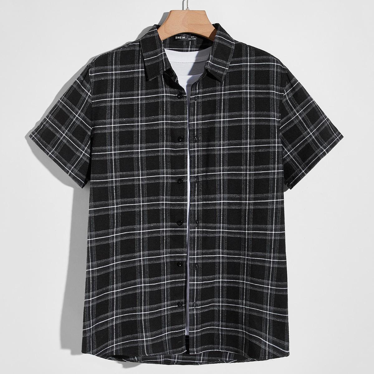 Мужской Рубашка в клетку на пуговицах SheIn smshirt07210518637