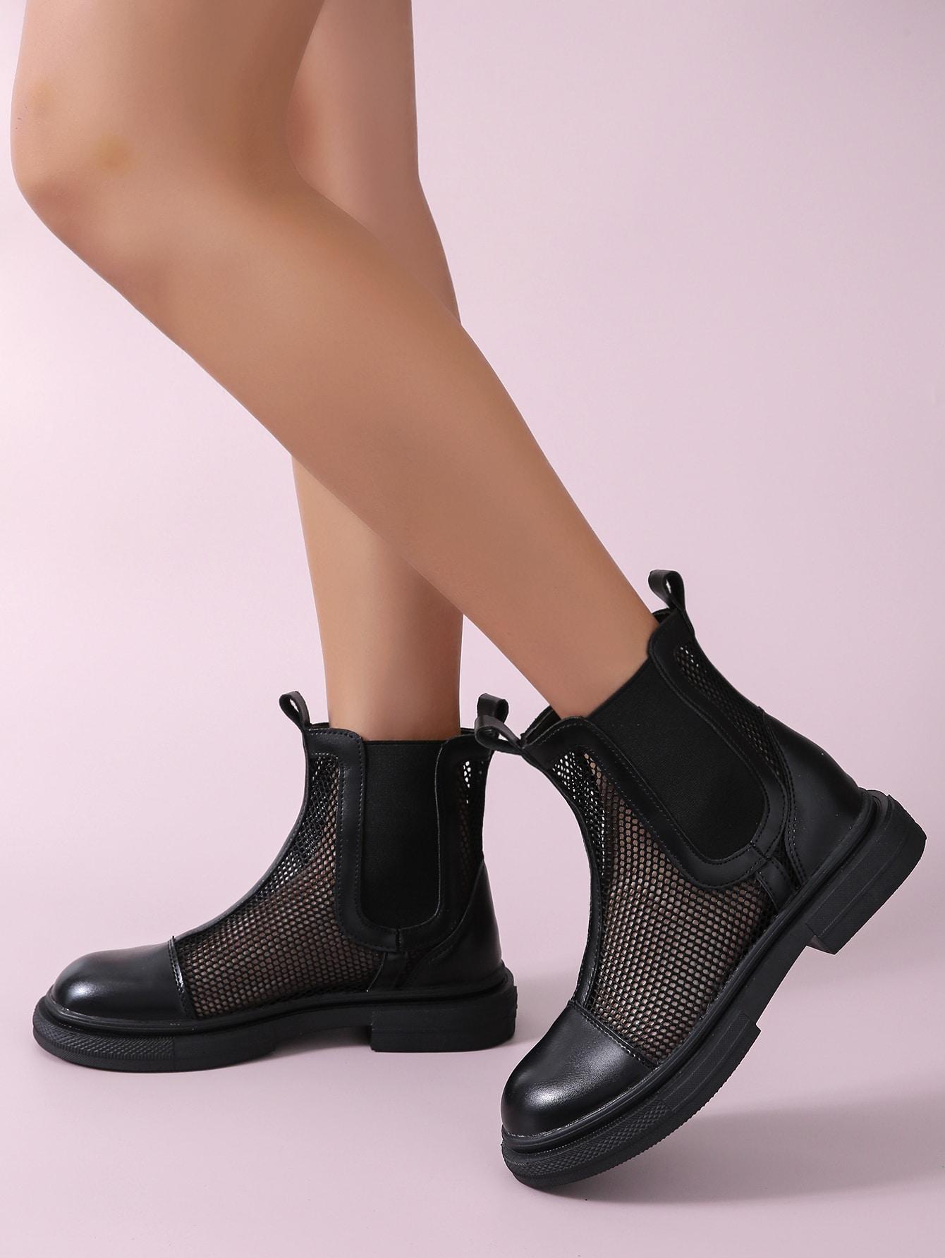 Minimalist Mesh Panel Ankle Boots