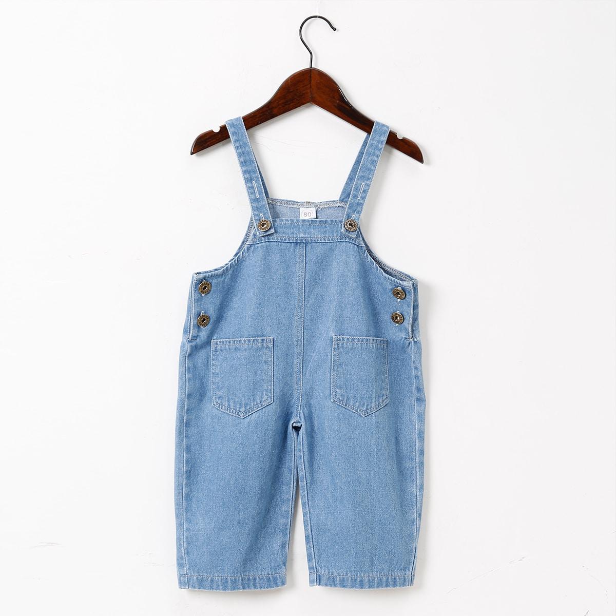 детский Джинсовый комбинезон с карманами от SHEIN