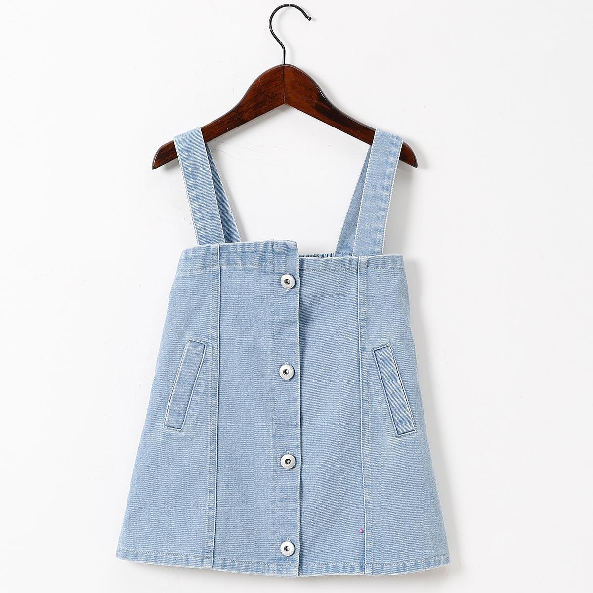 для девочек на пуговицах Джинсовый комбинезон Платье SheIn skdress25210517556