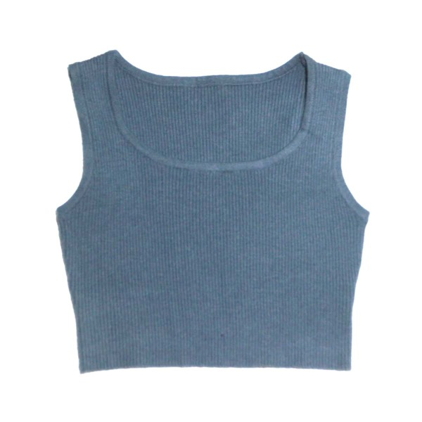 Girls Solid Ribbed Knit Top, Dusty blue