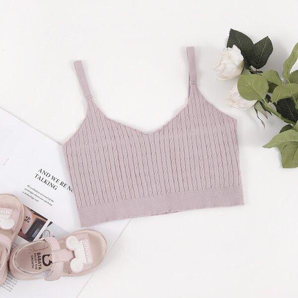 Girls Cable Knit Cami Top, Dusty pink