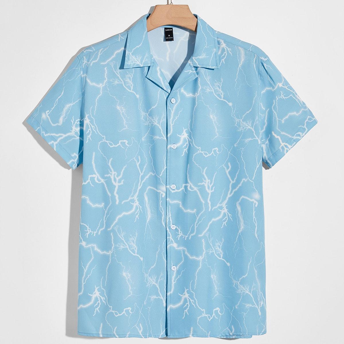Мужской Рубашка с принтом молнии с лацканами