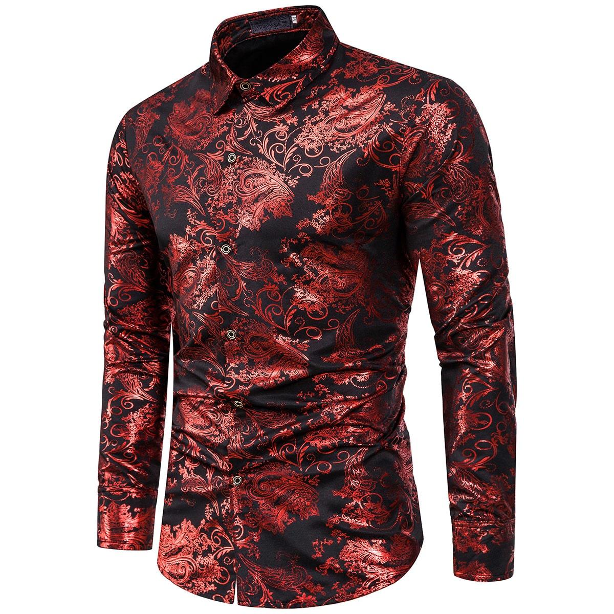 Мужская рубашка с принтом барокко на пуговицах