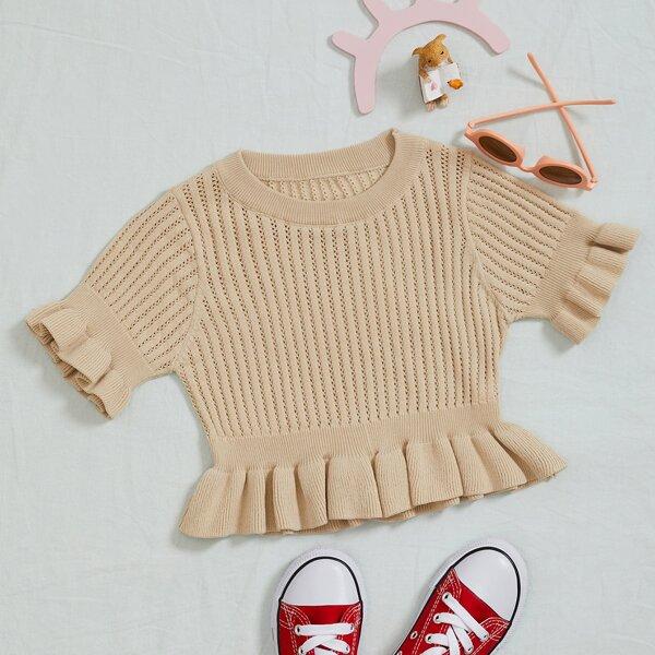 Girls Flounce Sleeve Ruffle Hem Pointelle Knit Top, Apricot