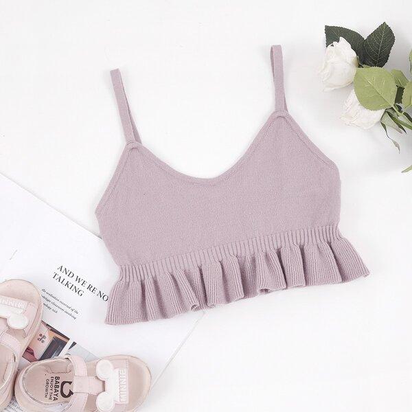 Girls Ruffle Hem Cami Knit Top, Dusty pink