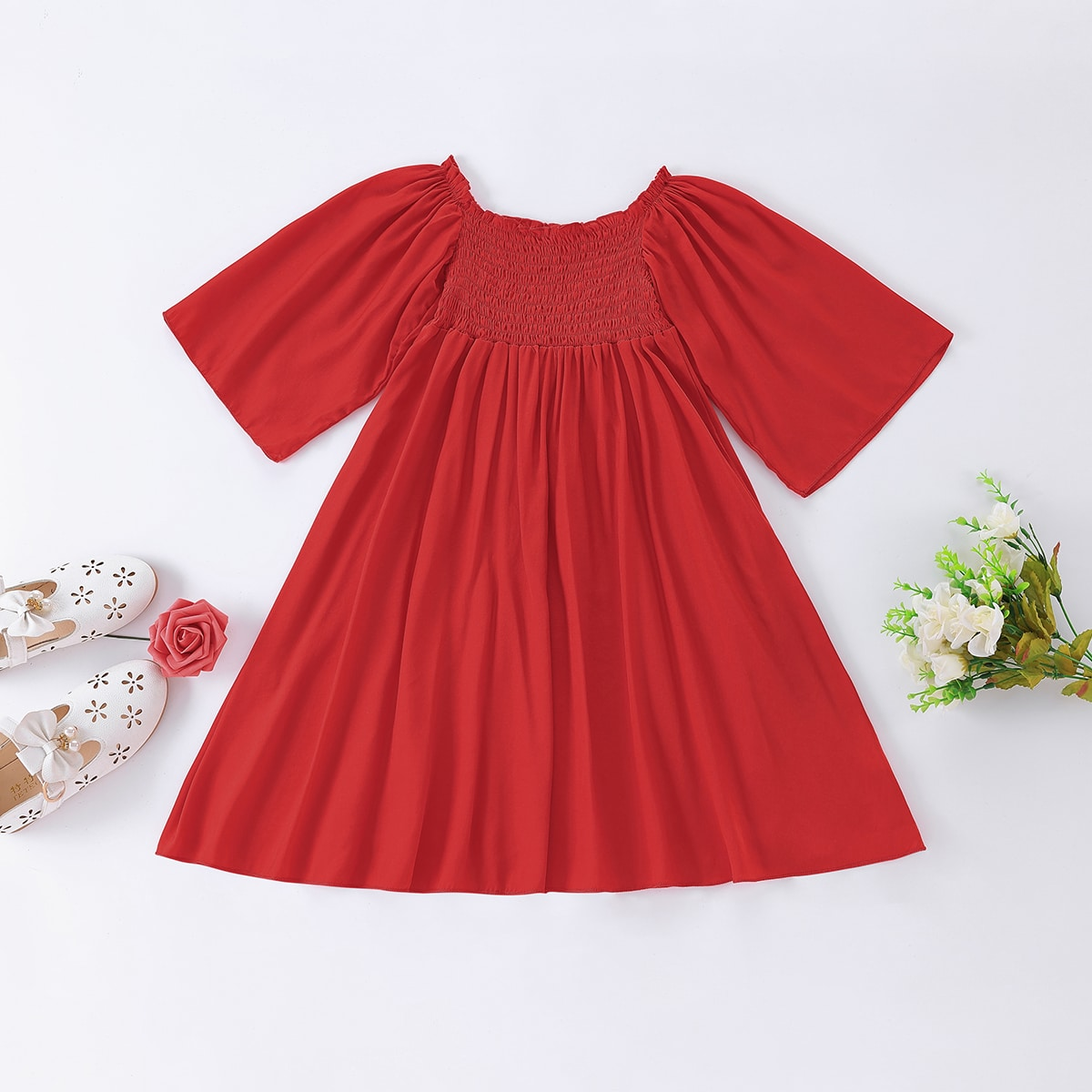 Toddler Girls Solid Shirred A-line Dress, SHEIN  - buy with discount