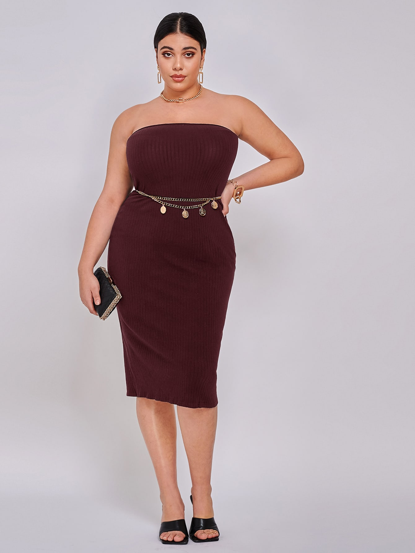 plus solid tube bodycon dress without belt