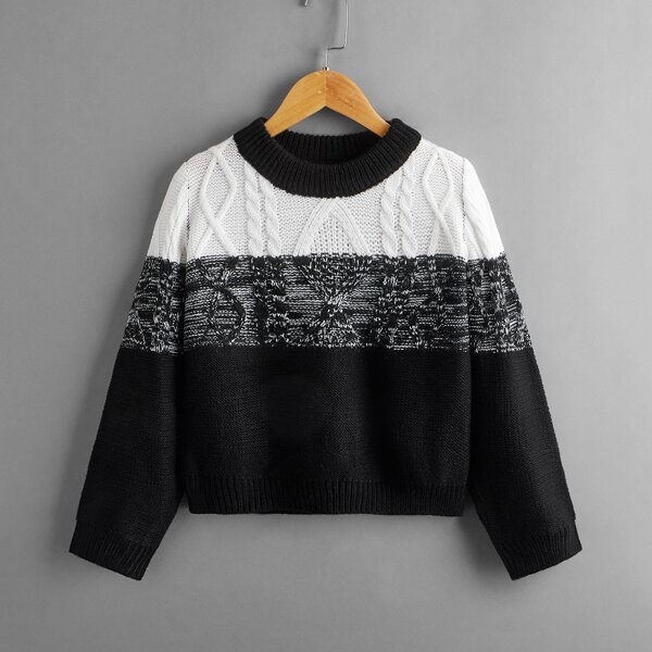 Boys Marled Knit Colorblock Sweater, Black and white