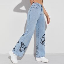 Butterfly Print Wide Leg Jeans