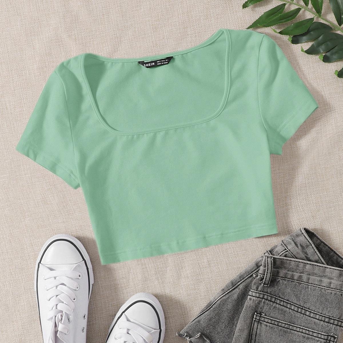 Однотонная футболка SheIn swtee07210519747