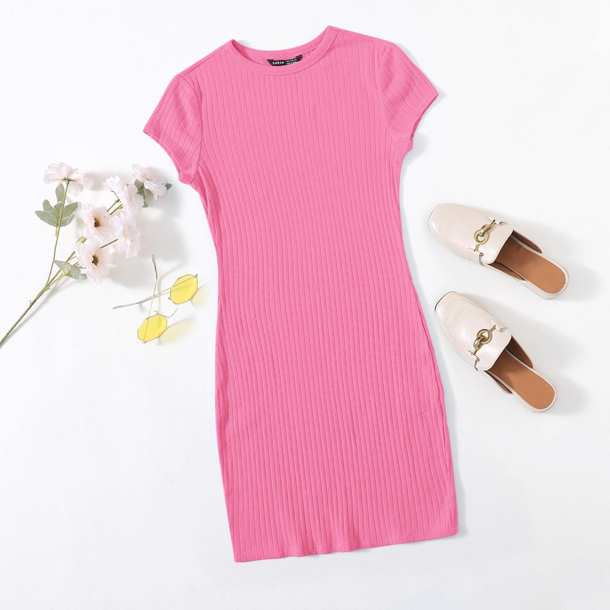 Вязаное платье в рубчик SheIn swdress07210519581